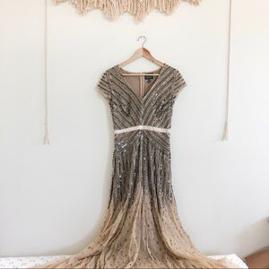 NWOT Adrianna Papell Tan/ Nude Embellished Gown